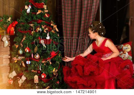Little Winter Princess, Girl Decorates Christmas Tree