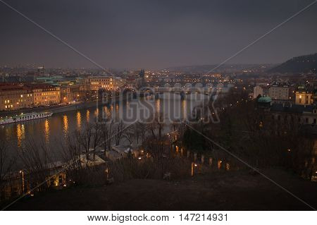 Prague and the bridges over Vltava as seen from Letna Park