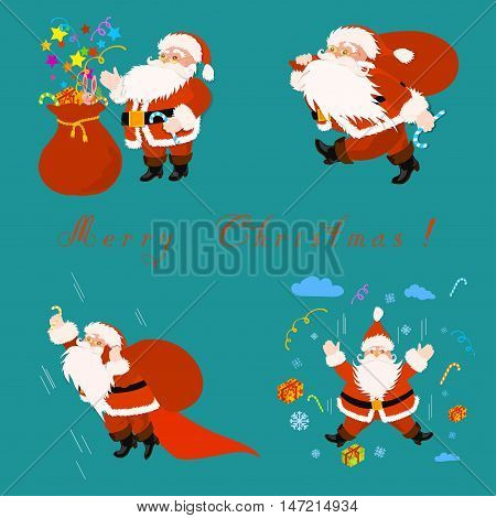 Set of Santa Claus with bag and gifts. Two Santa fly, one walk and one is standing at the bag. The lower left character is superhero with red cape.