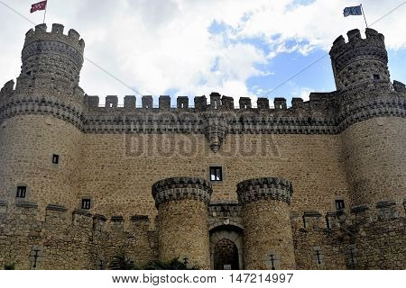 The New Castle of Manzanares el Real, also known as Castle of los Mendoza, is a palace-fortress erected in the 15th century in the town of Manzanares el Real (Community of Madrid, Spain), next to the Santillana reservoir at the foot of Sierra de Guadarram
