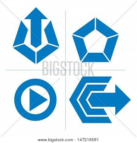 Set Of Abstract Icons, Play Sign, Special Arrow. Vector Push Buttons, Multimedia Arrow Symbol Isolat