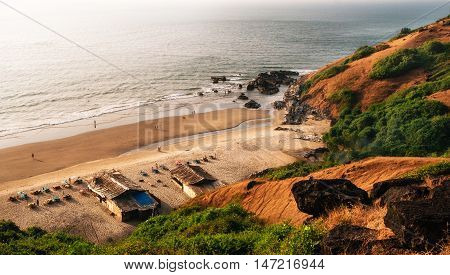 View from above of hidden wonderful place of Chapora beach close to Vagator. Arabian Sea North Goa India