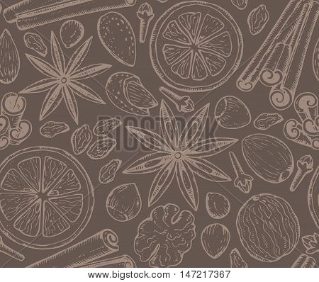 Seamless pattern with Christmas spices and citrus fruit. Hand drawn sketch vector illustration. Monochrome endless background.