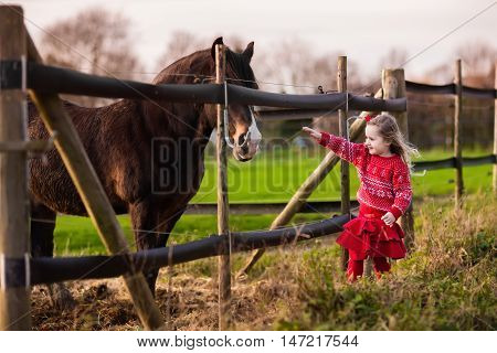 Family on a farm in autumn. Kids feed a horse. Outdoor fun children. Little girl playing with pets. Child feeding animal on a ranch on cold fall day.