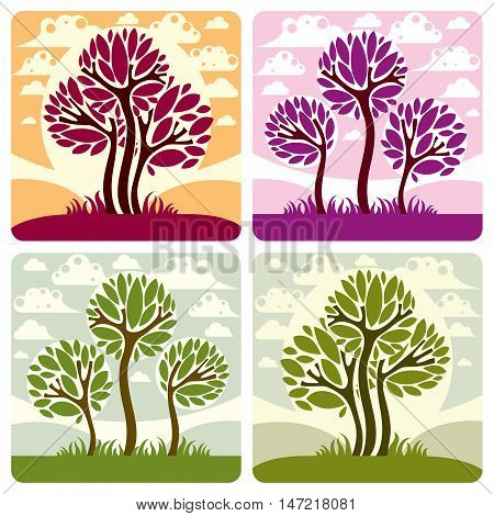 Art illustration of tree growing on beautiful meadow stylized eco landscape with clouds. Vector botany element on season idea spring time idyllic picture.