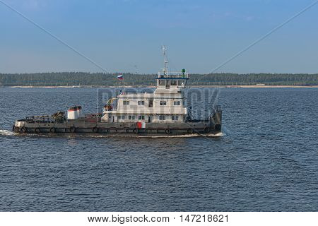 May 05 2016: Photo of tugboat on the Volga river. Cheboksary. Russia.
