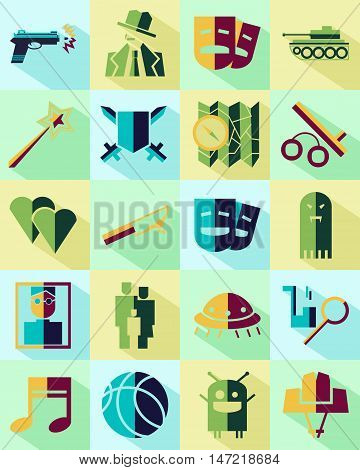 Vector flat icons set. Cinema genres theme. Color.