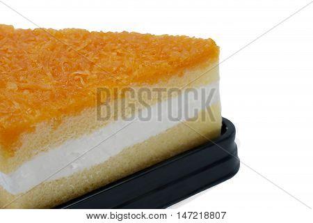 Foy Thong Chiffon Cake Isolated On White Background Closeup