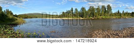 Panorama of the taiga river in the national Park. The object of UNESCO world heritage site Virgin Komi forests.