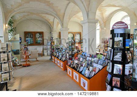 Saint Martin de Boscherville France - june 22 2016 : souvenir shop in the Saint Georges abbey in Seine Maritime