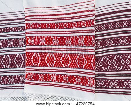 traditional Slavic clothes with red national ornaments