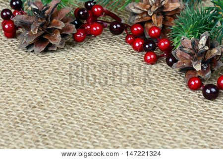 Beautiful Christmas decoration on a rough sackcloth