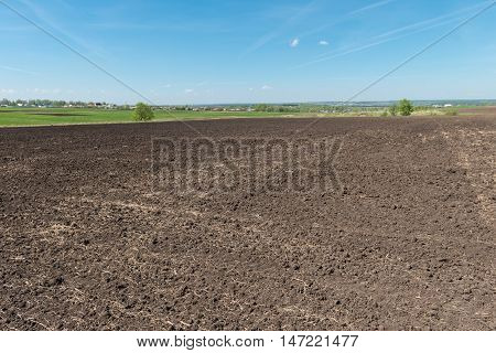 freshly plowed land ready for planting in the spring