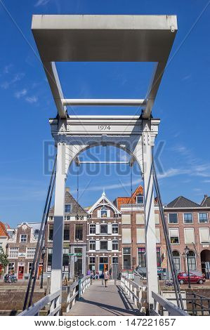 ZWOLLE, NETHERLANDS - AUGUST 31, 2016: White bridge over a canal in the center of Zwolle, Holland