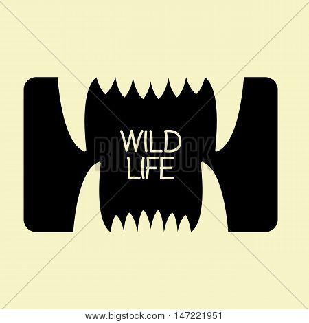 logo mouth teeth predator black and white