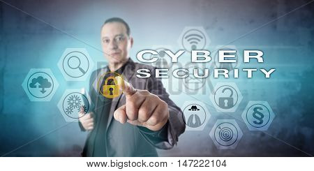 Friendly corporate investigator with a vigorous gesture is activating CYBER SECURITY on an interactive screen. Information technology concept for data protection procedures in a cyber environment.