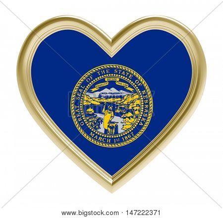 Nebraska flag in golden heart isolated on white background. 3D illustration.