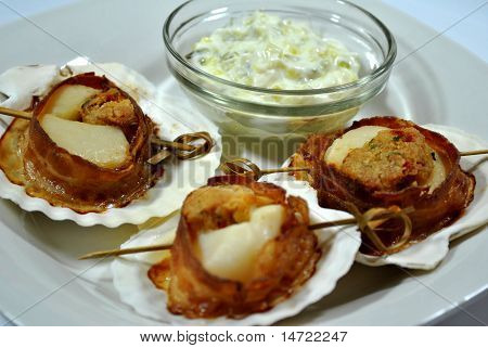 Bacon Wrapped Stuffed Scallops with Tarter Sauce