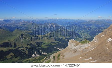 Landscape in the Bernese Oberland Swiss Alps. View from Scex Rouge. Summer scene.