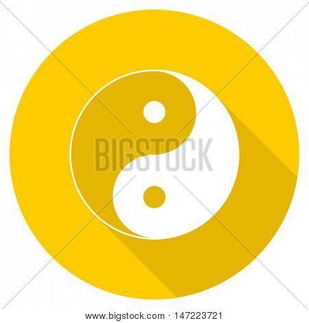 ying yang flat design yellow round web icon