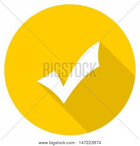 accept flat design yellow round web icon