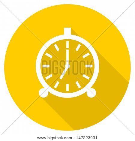 alarm flat design yellow round web icon