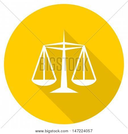 justice flat design yellow round web icon