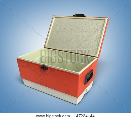 Open Beach Refrigerator Cooler Red 3D Render On A Gradient Background