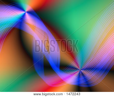 Blue Ribbon Abstract Over Colors