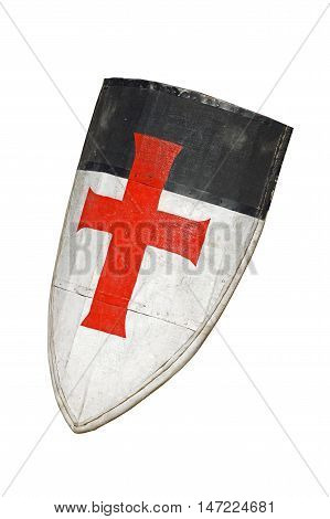 Old templar or crusader shield isolated on white