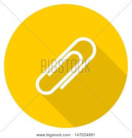 paperclip flat design yellow round web icon
