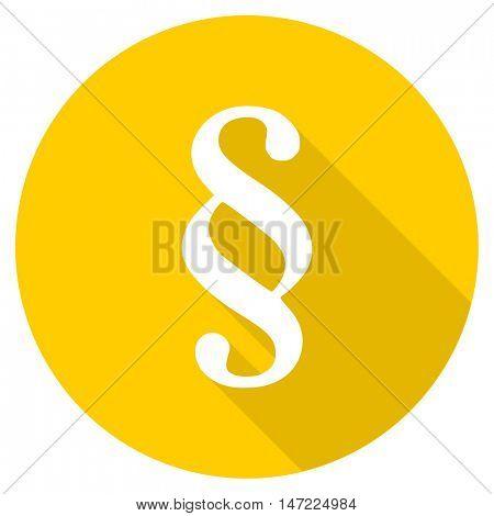 paragraph flat design yellow round web icon