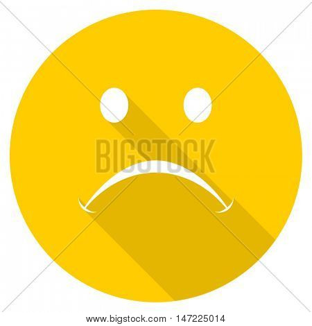 cry flat design yellow round web icon
