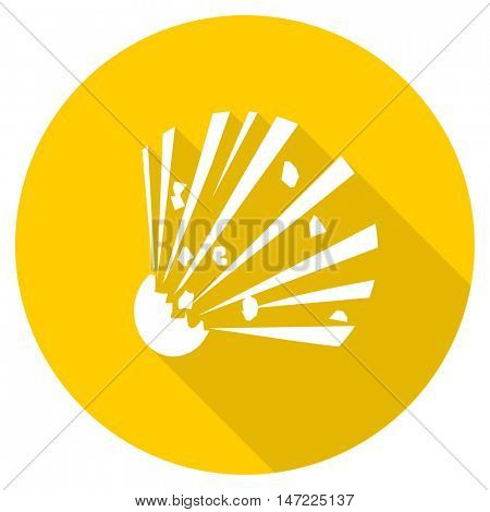 bomb flat design yellow round web icon