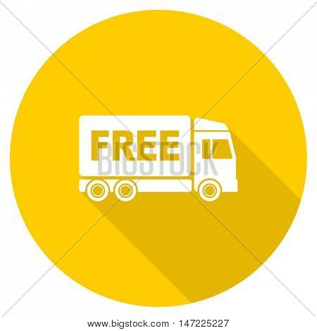 free delivery flat design yellow round web icon