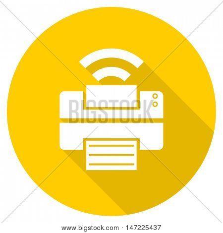 printer flat design yellow round web icon