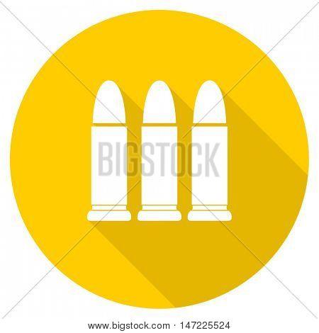 ammunition flat design yellow round web icon