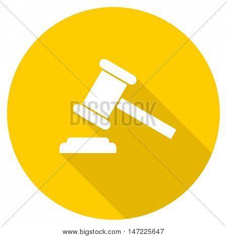 auction flat design yellow round web icon
