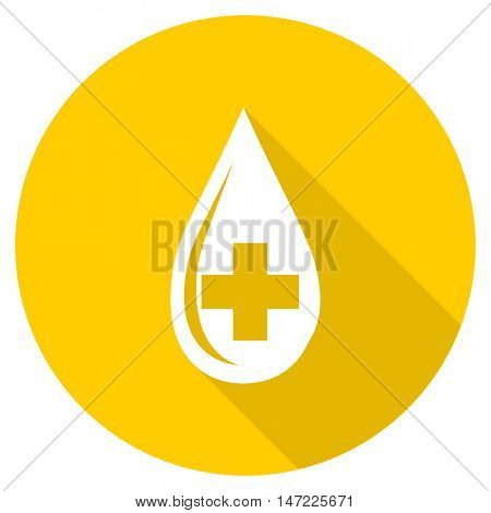 blood flat design yellow round web icon