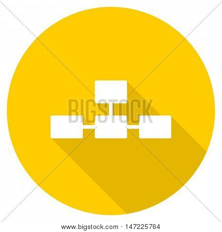 database flat design yellow round web icon