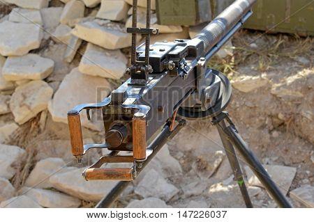 DShK 1938 Soviet heavy machine gun firing the 12.7?108mm cartridge on position