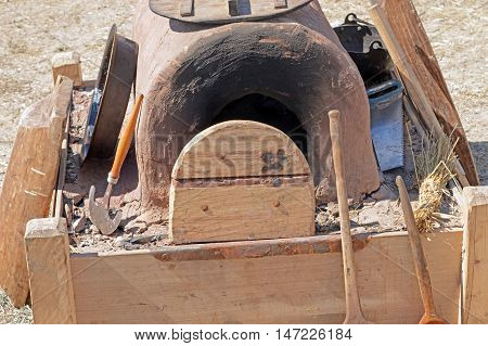 the Old stone and brick wood fired oven