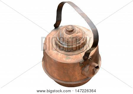 the old copper kettle on white background