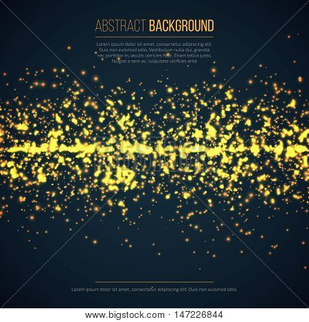 Abstract geometric technology background with glowing sparkles. Yellow circle particles glitter light effects. Vector illustration