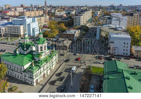 Tyumen, Russia - September 24, 2014: Aerial view on Church of Saviour, Lenina and Chelyuskincev streets intersection, Tyumen state university