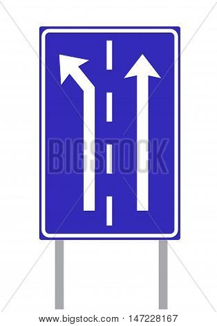 Traffic Lanes Sign on White Background. Isolated vector illustration traffic theme.