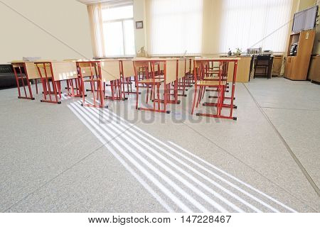 Interior of an empty school class in Moscow, Russia