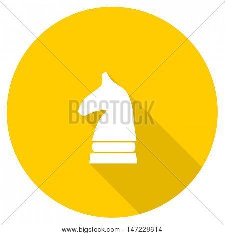 chess horse flat design yellow round web icon