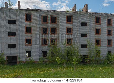 abandoned block of flats brick old building