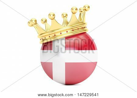 Crown with flag of Kingdom of Denmark 3D rendering